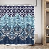 Cdcurtain Boho Paisley Shower Curtain Panel Free Metal Hooks 12-Pack Floral India Bohemia Dark Navy Shower Curtain Panel Polyester Waterproof Fabric Clawfoot Tub 72x72 Inch