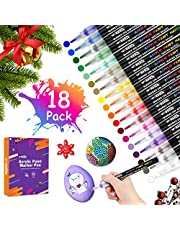 Acrylic Paint Pens 18 Colors Permanent Paint Art Markers Waterbased Pen Set for Stone, Ceramic,Glass, Wood, Canva, 0.7mm Fine Tip for Rock Painting Kit or DIY Projects, Non Toxic, Quick Drying