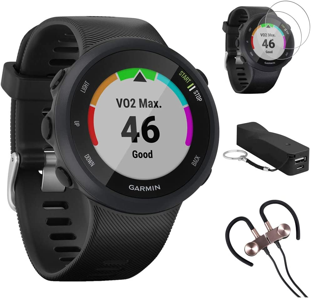 Garmin Forerunner 45 GPS Running Watch 45mm (Black) - 010-02156-05 w/Accessories Kit Includes, Deco Gear Sport Wireless Earbud, 2600mAh Portable Power Bank & Deco Essentials Screen Protector (2Pack)