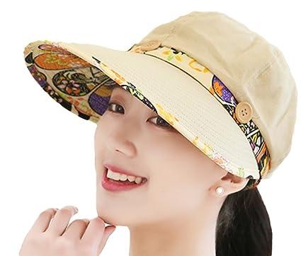f8605e1521d Leisial Women Lady Sun Hat Wide Brim Sunscreen Baseball Cap with Flower  Lace Button Design Visor