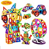 SJ Shop 113Pc Magnetic Tiles Building Blocks Education Toys for Kids Baby Gift+Container