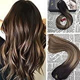 Moresoo 16 inch Clip in Balayage Human Hair Extensions Off Black Fading to #3 and #27 Blonde Hair Extensions Real Hair Extensions Clip in 7pcs 120g Full Head Set