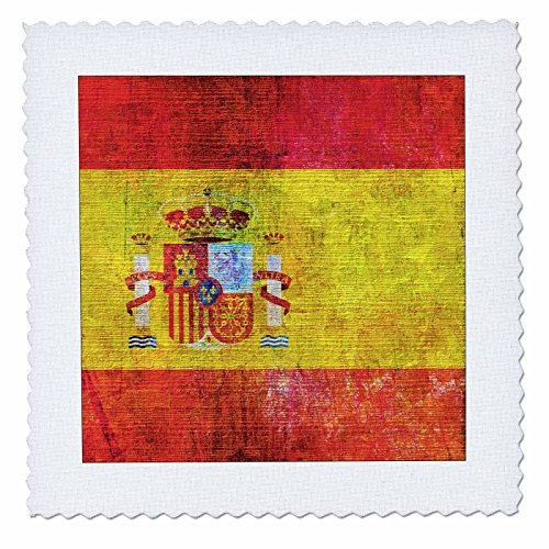 3dRose Andrea Haase Grunge Flag Art - Distressed Style Grunge Flag Of Spain - 22x22 inch quilt square (qs_268086_9) by 3dRose