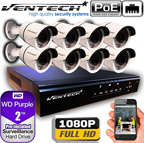 VENTECH POE Security Camera System 8CH NVR 1080P CCTV Kit with 8 Bullet Cameras Outdoor (2.0MP) 2TB H-Drive, Easy Remote Smartphone Access,100ft Night Vision