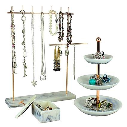 Organizador de joyas de estilo vintage, juego de 3 bandejas de torre con soporte para