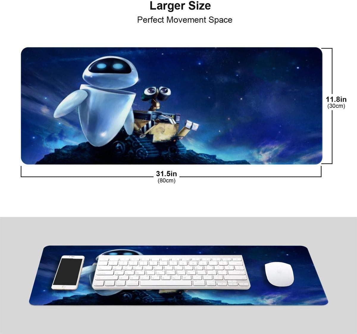 Wall.E Gaming Mouse Pad Rectangular Mouse Pads 12 X 31 Inch Non-Slip Rubber Electronic Sports Oversized Large Mouse Mat