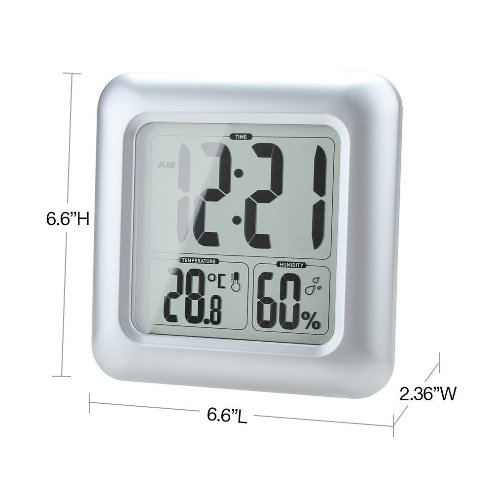 Amazon.com: Anself Digital LCD Shower Clock Wall Clock For Bathroom Kitchen  Temperature Humidity Measurement Water Resistant With Sucker: Home U0026 Kitchen