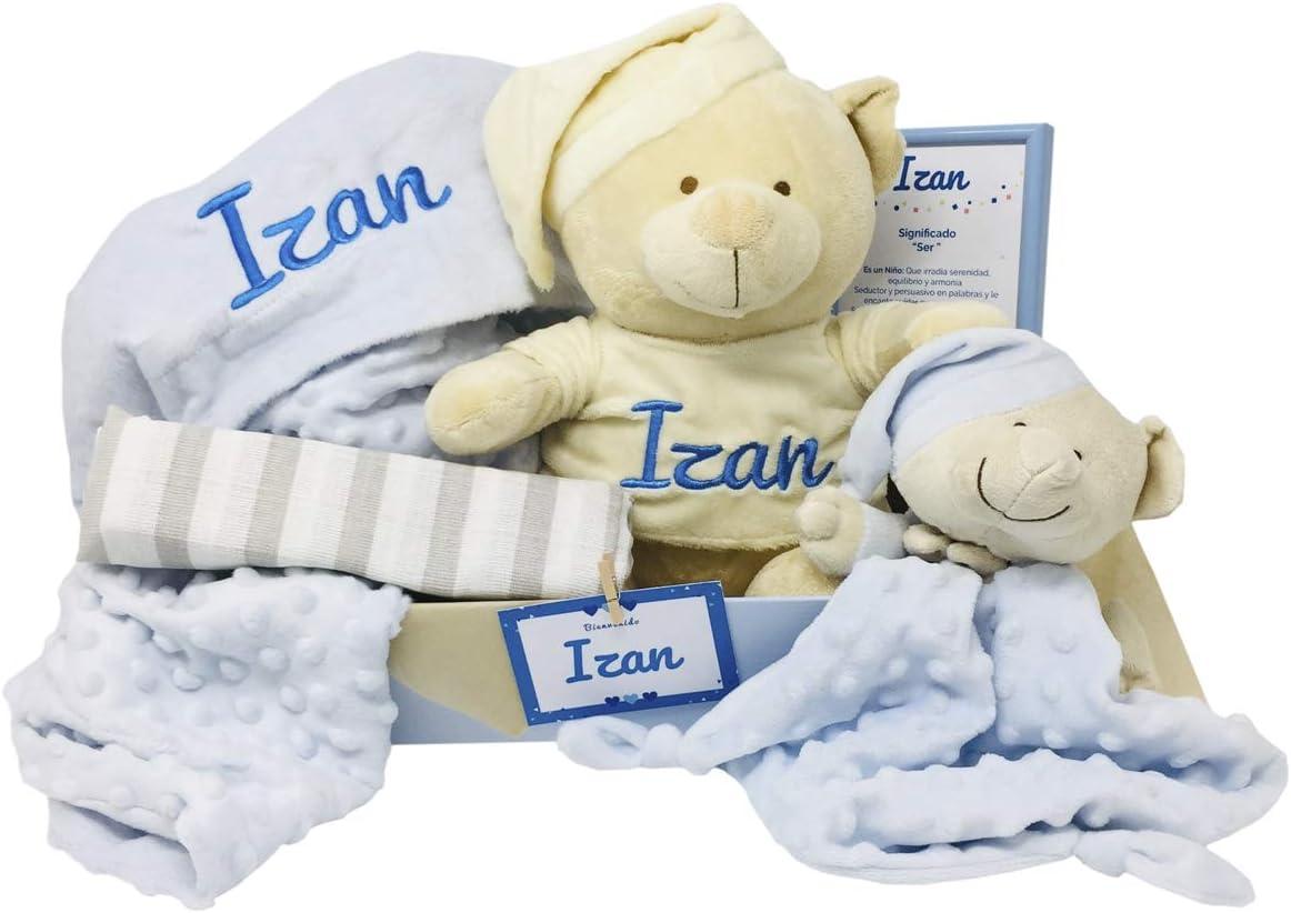 MabyBox Teddy Deluxe | Regalo Bebe Recien nacido | Set regalos bebe | Canastilla Bebé Original … (Azul, 3-6 meses)