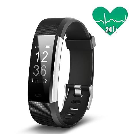 Monitor de ritmo cardíaco JoyGeek, pulsera inteligente, monitor de ejercicio, reloj inteligente con control de música / cámara, monitor de sueño para ...