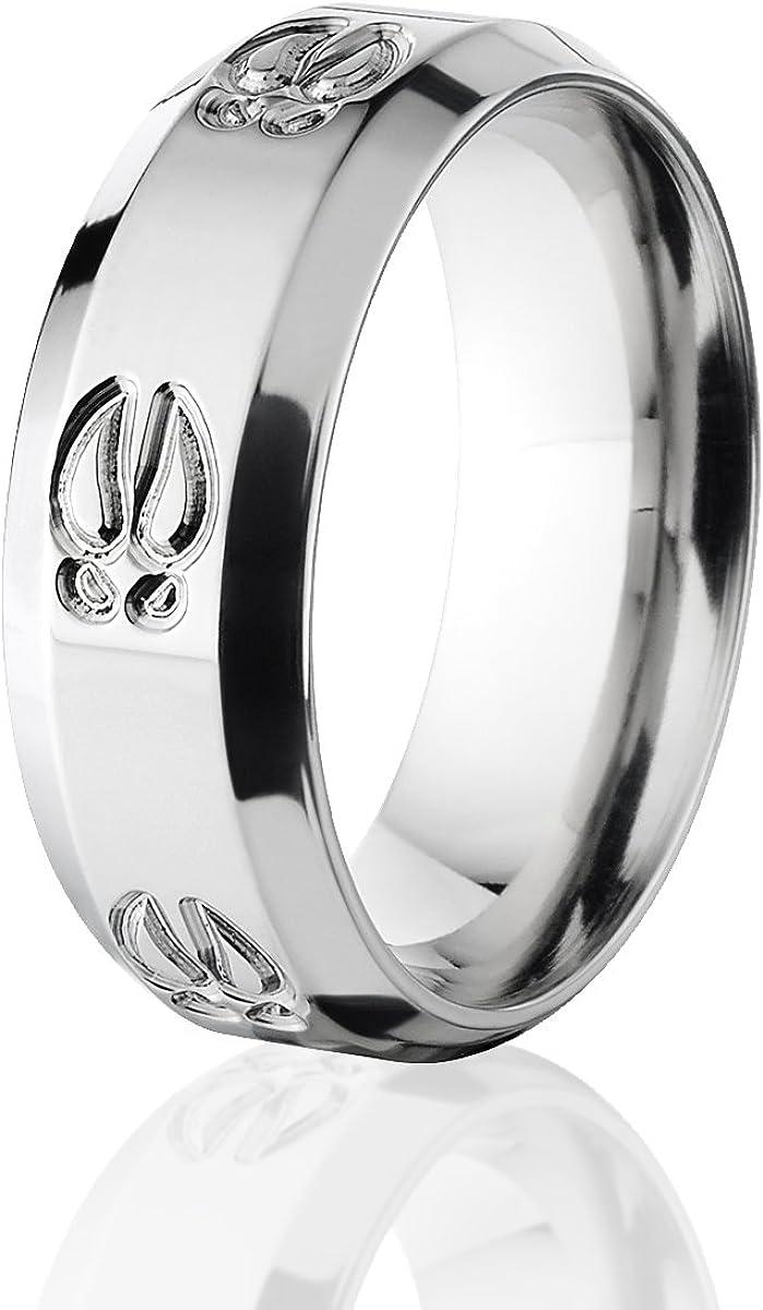9MM Comfort Fit 11 Titanium Outdoor Animal Tracks Wedding Ring