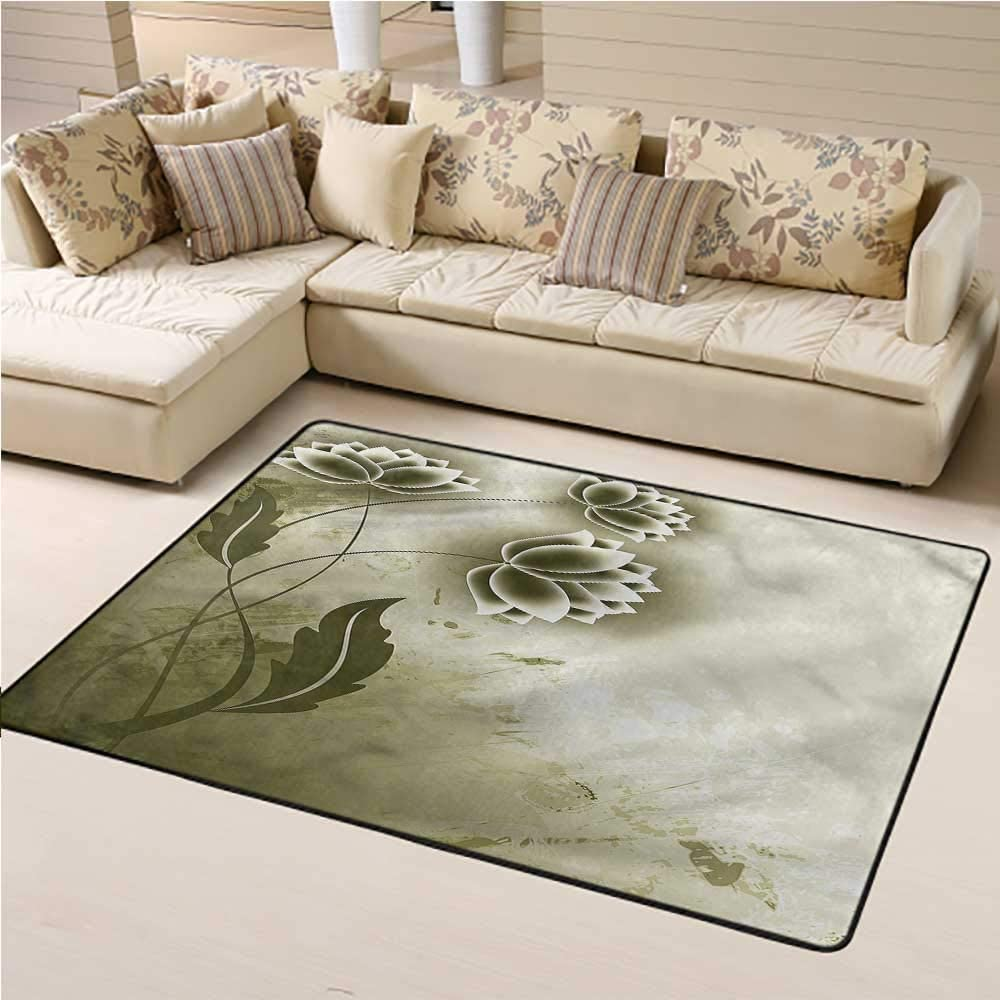 Indoor Outdoor Carpet Abstract Kids Play Rug Grey Flowers Ivy Leaf 2' x 3' Rectangle