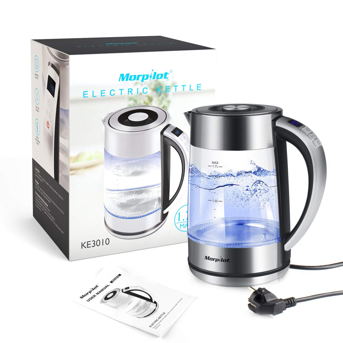 Electric Glass Kettle Cordless,1.7 L Morpilot Tea Kettle with Blue Illumination LED Light,Strix Control Double Layer Fast Boil Kettles with Auto Shut Off & Overheating Protection, BPA Free