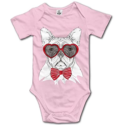 Unisex Baby's Climbing Clothes Set Sunglasses Dog Bodysuits Romper Short Sleeved Light Onesies for 0-24 Months