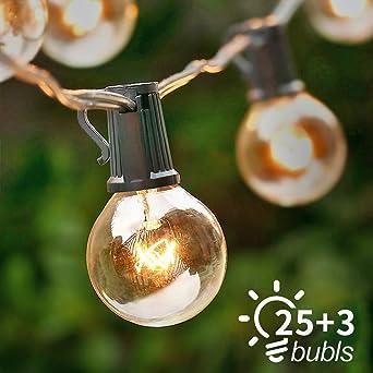 Cadena de luces, ICONNTECHS 25FT Cadena de Bombillas para Decoracion de Interior/Exterior, 28 Bombillas Cadena Colgante de Luces para Decoración de Patio Jardín Gazebos Bodas Fiestas: Amazon.es: Iluminación