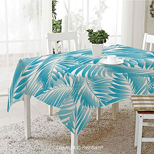 3D Print Table Cloths Cover Miami Style Tropical Aquatic Palm Leaves with Exotic Colors Summer Beach Decorative Kitchen Rectangular Table Cover (W60 xL104)
