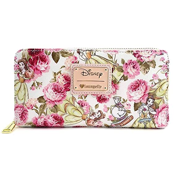 ab37a21c40a7 Loungefly Disney Beauty   The Beast Belle Mrs. Potts Pink Peony Floral  Wallet - Grey