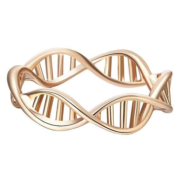 1 opinioni per Anello a forma di DNA, in oro placcato, anello da donna, anelli per amanti della
