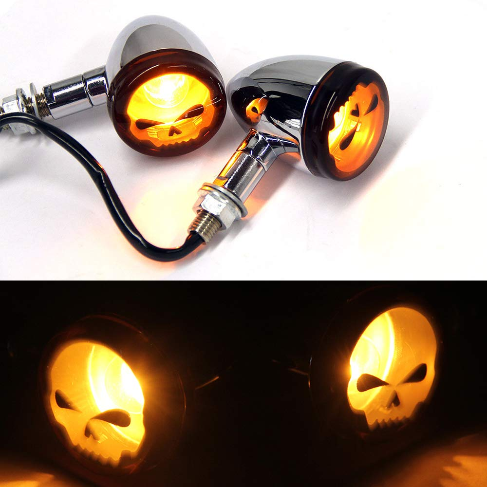 2pcs Skull Amber Lens Motorcycle LED Turn signal Lights Indicators Blinkers Lamp-Chrome Devilmotor