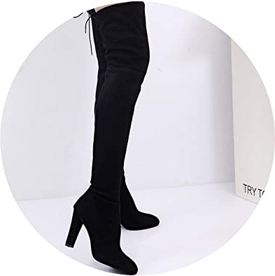 Witch-House Winter Boots Women Stretch Faux Slim High Boots Over The Knee Boots High