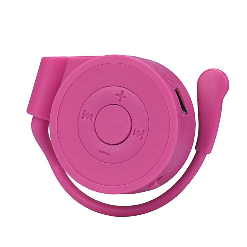 Start Sport Hanging Ear mp3 Mini USB Digital Music Player Support SD TF Card -Hot Pink