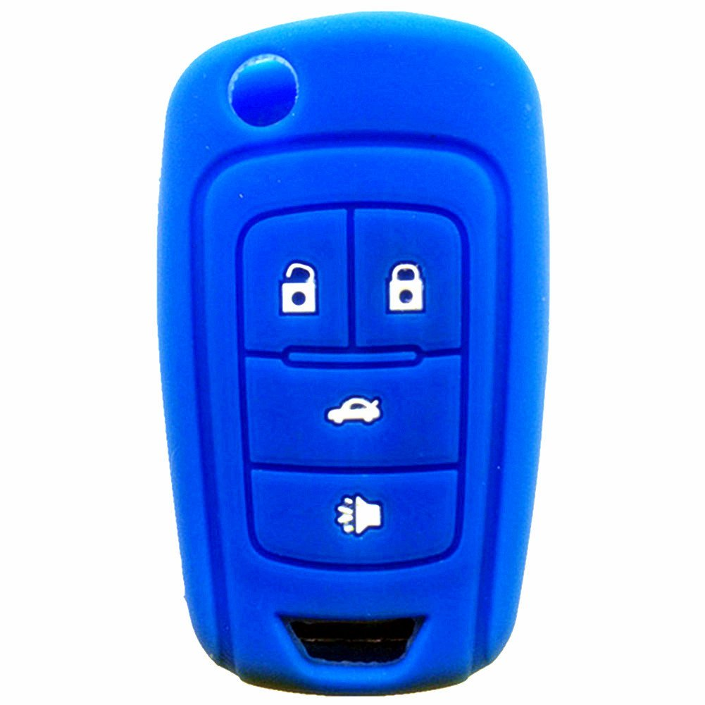 New Navy Blue 4 Buttons Key Cover for Flip Folding Key Case Cover Silicone cover for 2010 2011 2012 2013 2014 Chevrolet Camaro