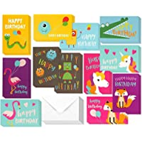 48 Pack Children Birthday Cards Unicorn, Flamingo, and Monster Designs Happy Birthday Greeting Cards Assortment for Kids…