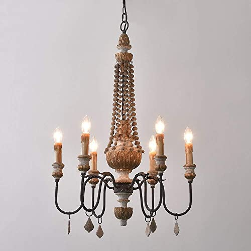 KunMai Retro Rustic 6-Light Sculpted Wood Rust Metal Clear Crystal Candle Style Chandelier
