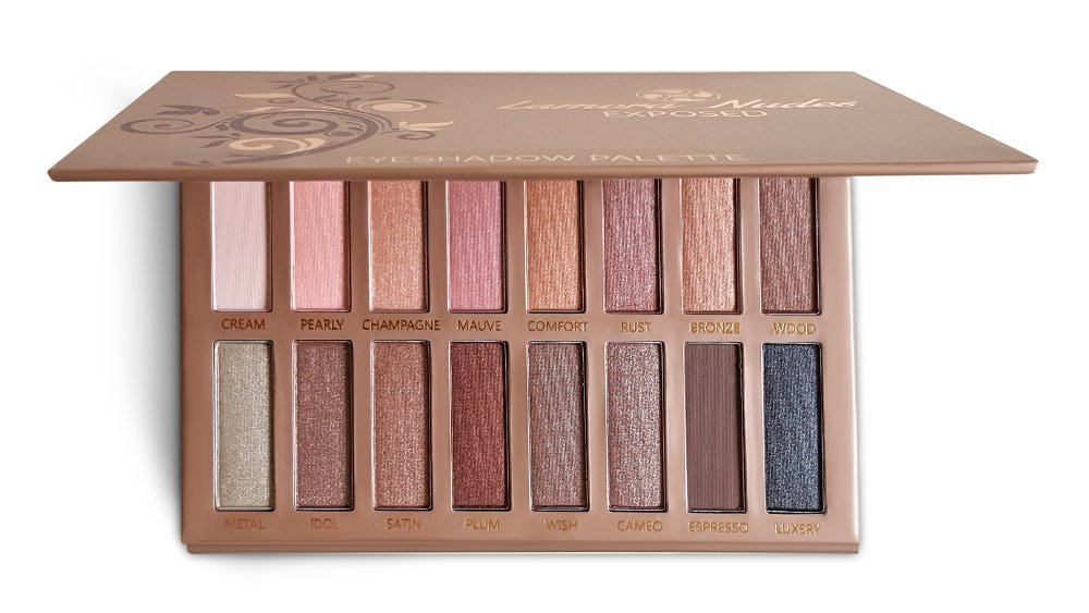 Best Pro Eyeshadow Palette Makeup - Matte + Shimmer 16 Colors - Highly Pigmented - Professional Nudes Warm Natural Bronze Neutral Smoky Cosmetic Eye Shadows - Lamora Exposed Lamora Beauty