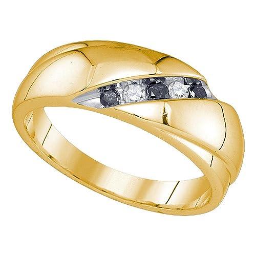 Anillo de boda de oro amarillo de 10 quilates para hombre, redondo ...