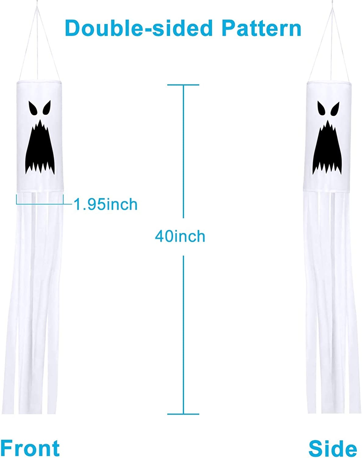 Evoio 2 Pack 40Inch Halloween Pumpkin Ghost Windsock Flag Hanging Ghost Windsock Halloween Outdoor Decoration with Swivel Hanging Clip for Front Yard Patio Lawn Garden House Party Decor Supplies