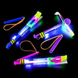 Dozen Light Up LED Slingshot Style Flying Helicopter Toy