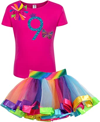 Bubblegum Divas Big Girls 9th Birthday Shirt Rainbow Tutu Butterfly Outfit 9