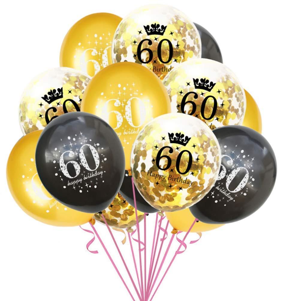 Dusenly 15pcs 60th Birthday Balloon 12inch Black Gold Happy Birthday Latex Confetti Balloons Set 60th Birthday Party Decoration