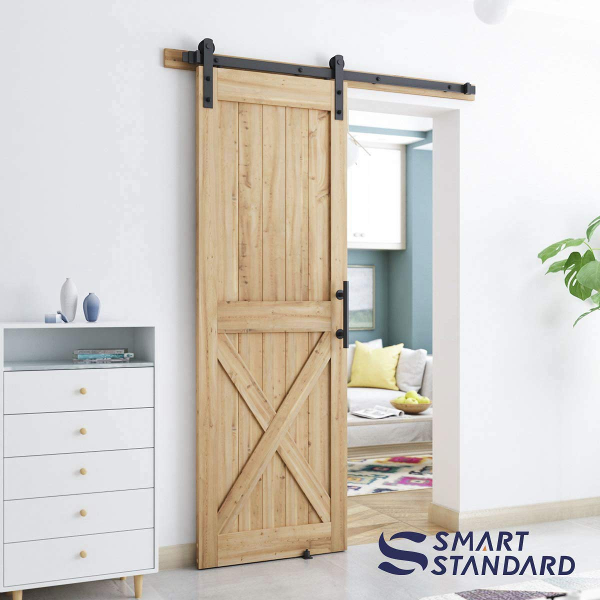 SmartStandard 30in x 84in Sliding Barn Wood Door Pre-Drilled Ready to Assemble Frameless K-Shape DIY Unfinished Solid Hemlock Wood Panelled Slab Natural Fit 5FT Rail Interior Single Door