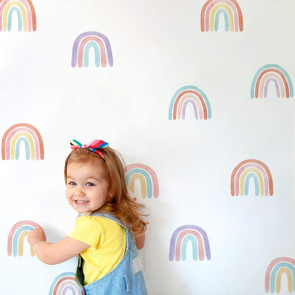 Finduat 36 Pcs Boho Rainbow Wall Stickers Decals, Cute Colorful Stickers Wallpaper, Stick and Peel Removable Vinyl Waterproof for Kids Room Bedroom Nursery Room