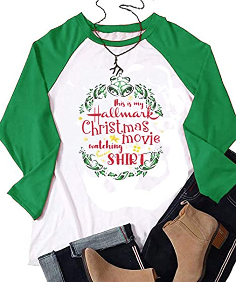 57a8462b This is My Hallmark Christmas Movie Watching Shirt T-Shirt Women Raglan Long  Sleeve Graphic