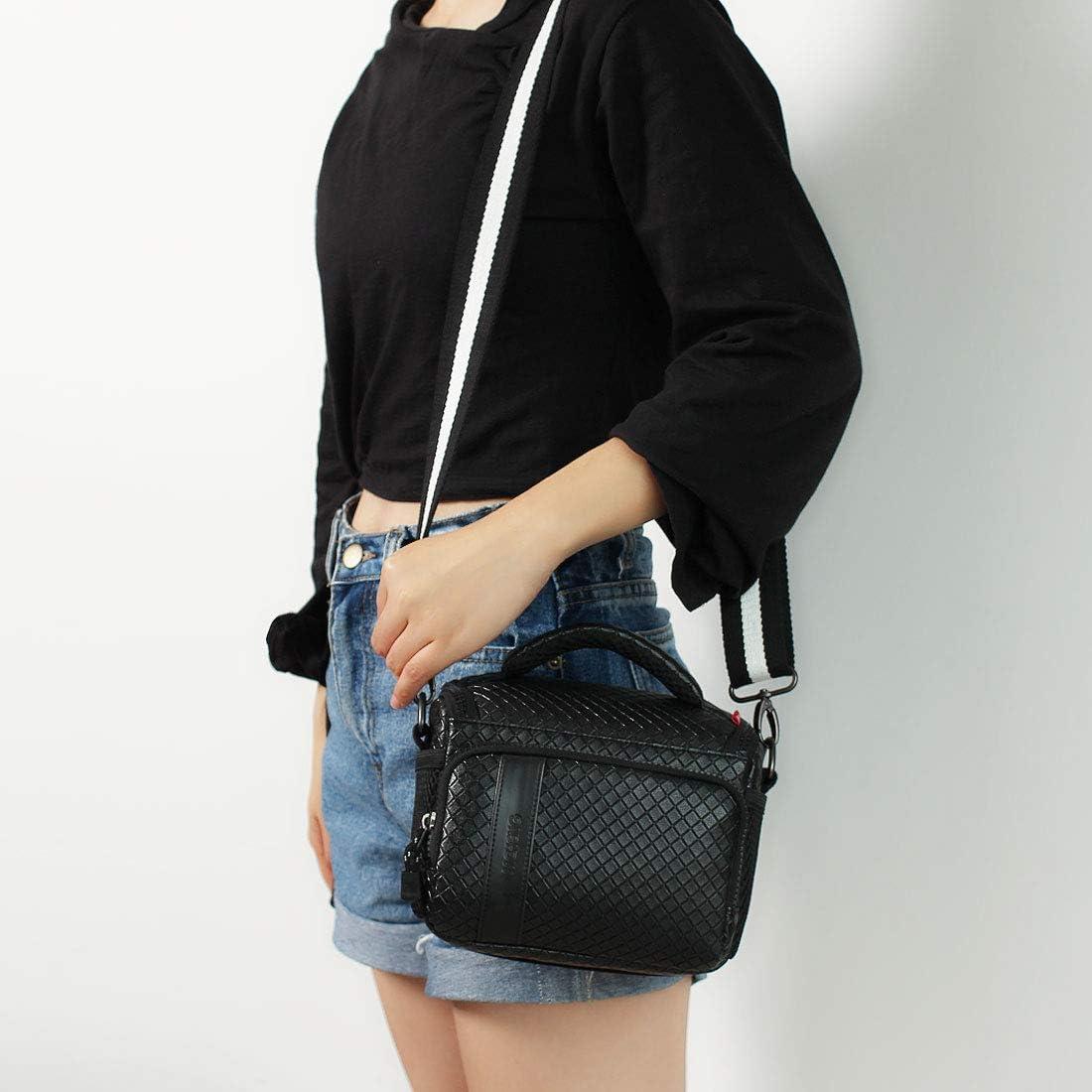 Black MCHENG Waterproof PU Leather Camera Bag for Canon Nikon Sony Panasonic Olympus Fujifilm Digital Cameras