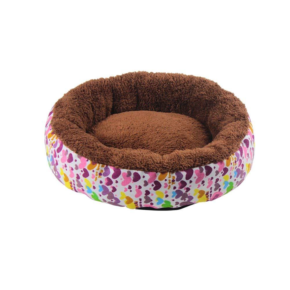 5 MediumGperw Round Nest Doghouse Cat Nest Kennel Teddy Yurt Cat House Closed Type Winter Keep Warm Pet Supplies Non Slip Cushion Pad (color   02, Size   Medium)