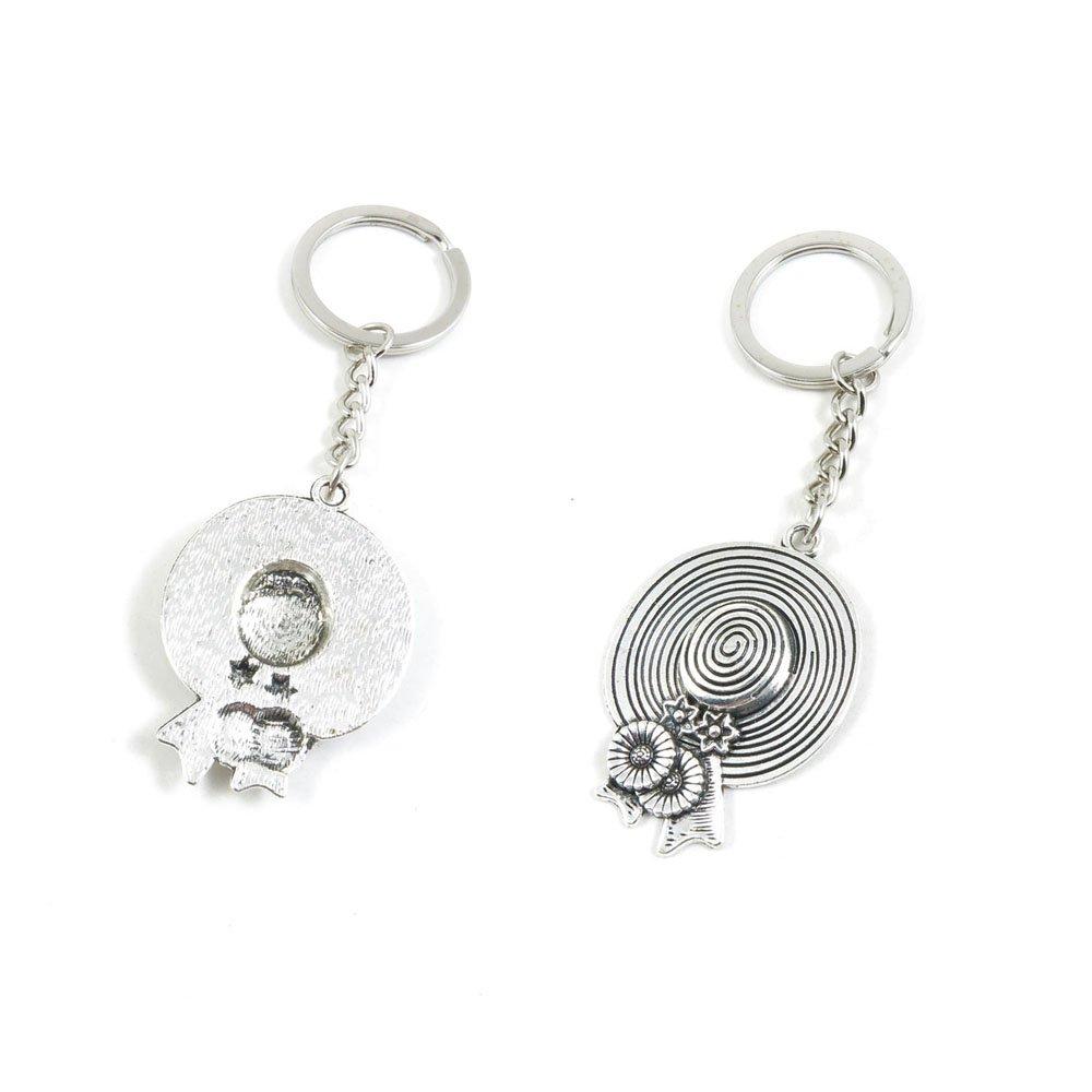 100 PCS Lady Straw Hat Keychain Keyring Jewelry Making Charms Door Car Key Tag Chain Ring X2RC8Q