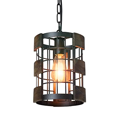 Eumyviv 1 Light Wood Farmhouse Kitchen Pendant Light, 7.8 Circular Industrial Mesh Cage Rustic Chandelier Vintage Edison Ceiling Island Lighting Fixture, Brown Wood Black Metal P0048