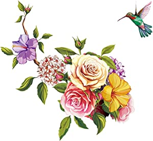 ufengke Flowers Wall Stickers Hummingbird Removable Wall Art Decals Wall Decor for Bedroom Office Living Room
