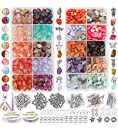 EuTengHao 1458Pcs Irregular Chips Stone Beads Natural Gemstone Beads and Crackle Lampwork Glass B...