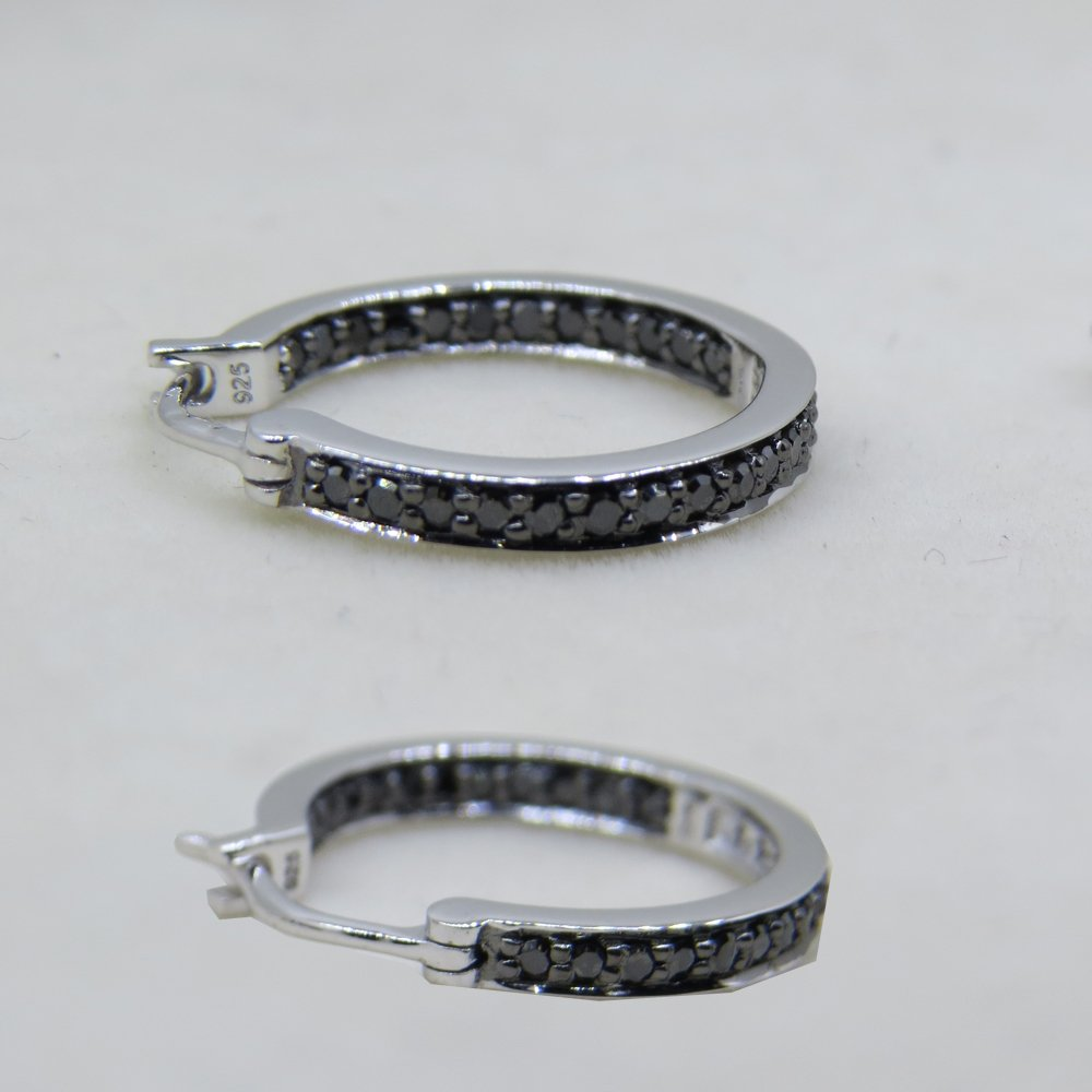 0.38 Carat (ctw) Sterling Silver Round Black Diamond Fine In and Out Huggie Hoop Earrings 3/8 CT by Dazzlingrock Collection (Image #5)