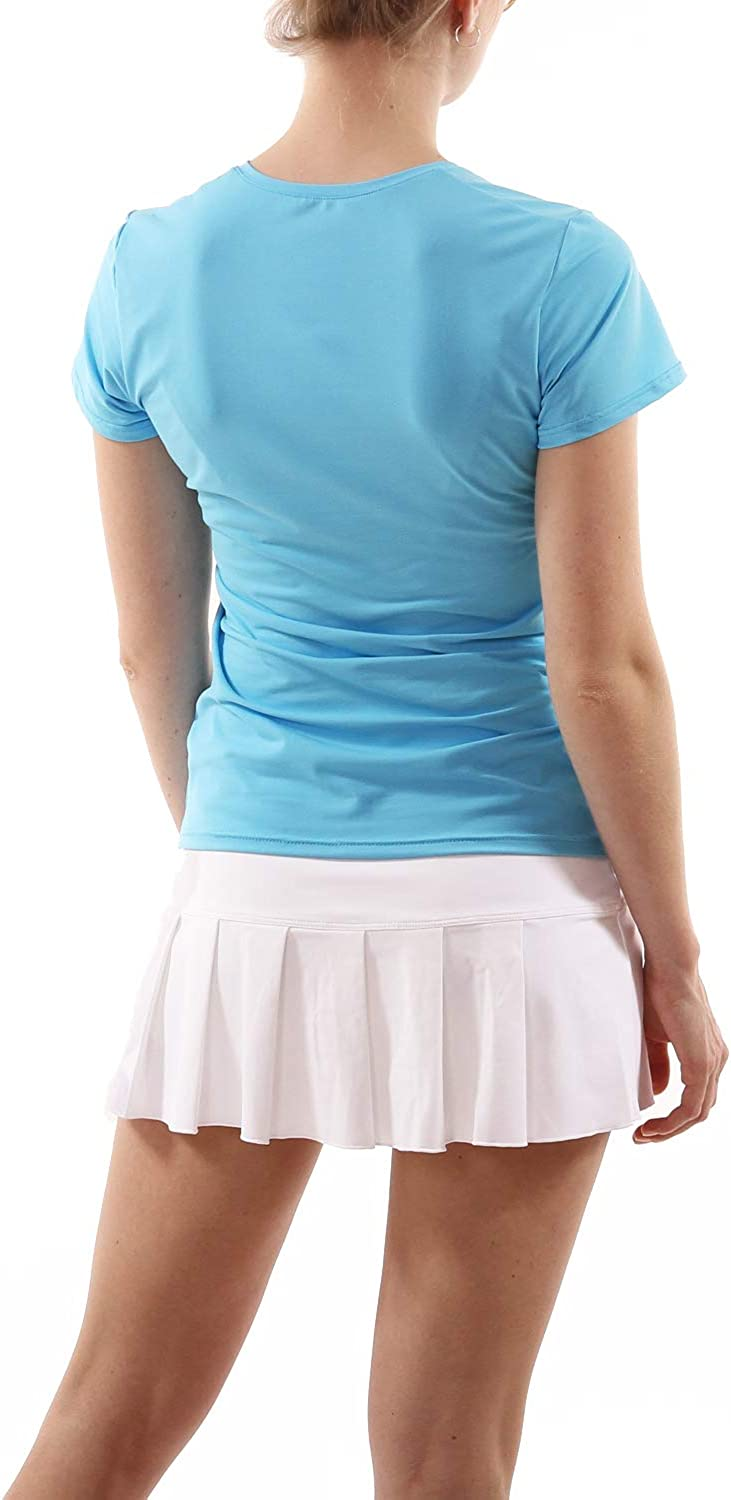 Yoga SPORTKIND Girls /& Ladies Ultra-Light V-Neck Tennis Quick Dry Running Workout Short Sleeve T-Shirt UPF 50+ Sun Protection Breathable