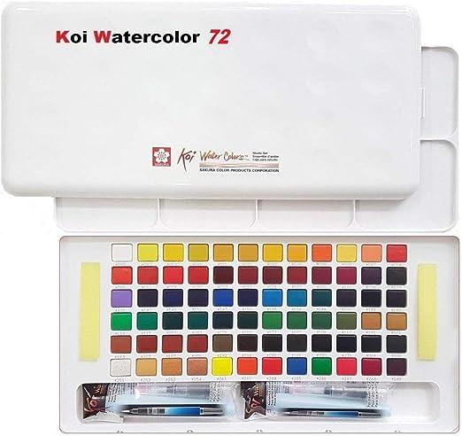 Caja de dibujo con acuarelas de bolsillo, 72 colores variados, acrílico, multicolor, de la marca Sakura Koi: Amazon.es: Hogar