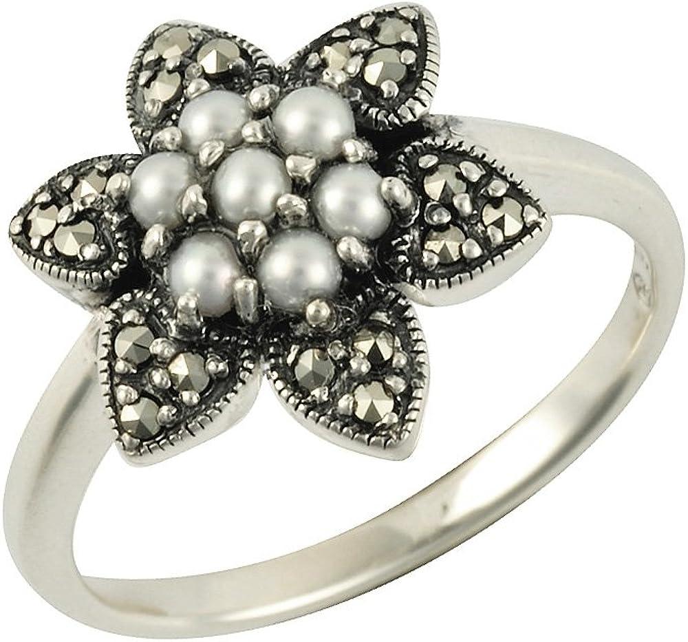 Esse Marcasite Anillo de plata de ley perla cultivada china y diseño floral