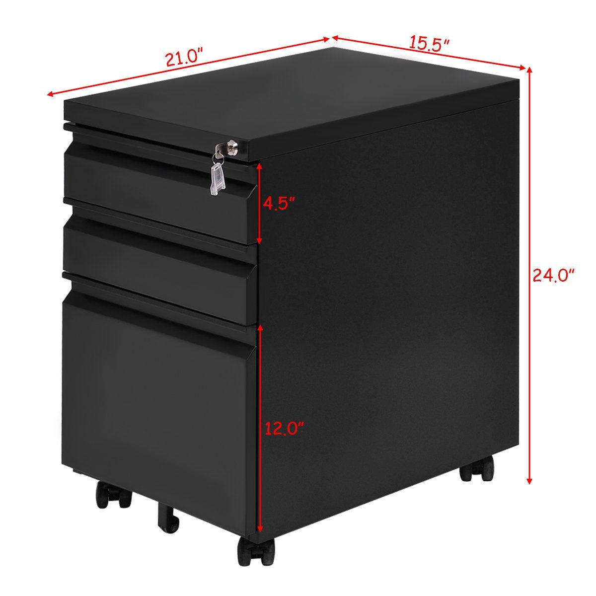 Giantex Rolling Mobile File W/3 Lockable Drawers and Pedestal for Office Study Room Home Steel Storage Cabinet by Giantex (Image #8)