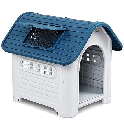 Futureyun - Caseta para Mascotas de Interior y Exterior, portátil, Impermeable, de plástico, para Cachorros, Todo Tipo de Clima, Techo para Gatos, ...
