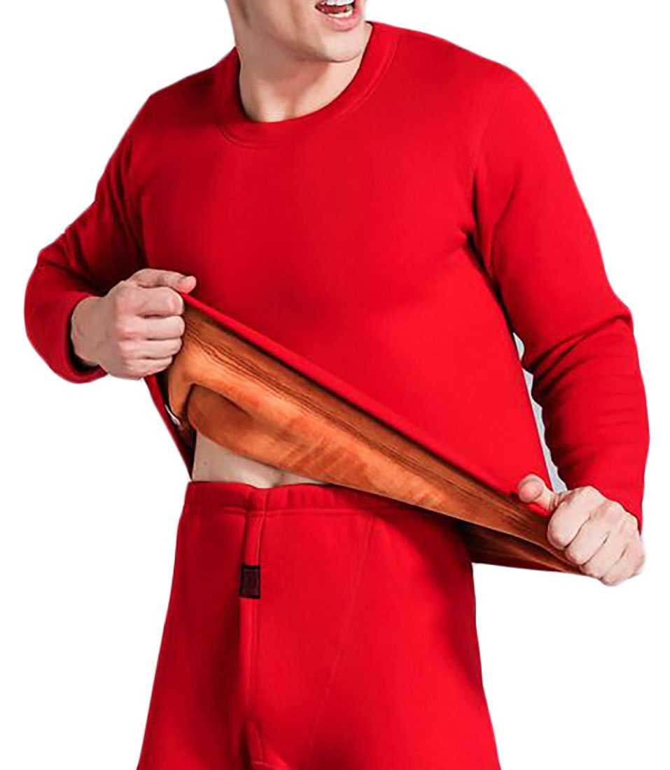 Pandapang Men's Padded Fleece Lined Warm Winter Thick Thermal Underwear Set