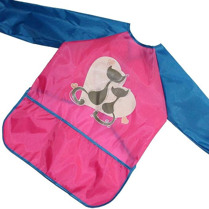 Tyidalin Bambini Grembiule da Pittura Scuola Bavaglino Maniche Lunghe con Tasche Impermeabile Unisex 1-8 Anni